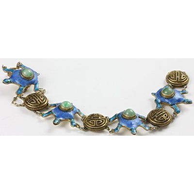 Blue Enameled Turtle and Green Stone Brass Bracelet, Antique