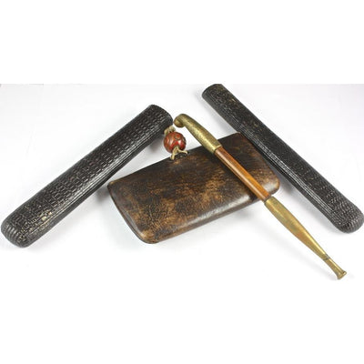Leather Eyeglass Holder and Pipe Holder, with Pipe, Antique, England