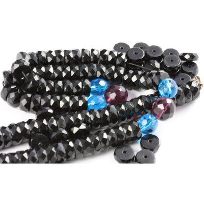Black Faceted Rondelle Crystal Beads, Antique or Vintage, Bohemia