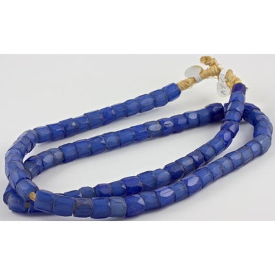 Russian Blues Hand-Faceted Glass Trade beads