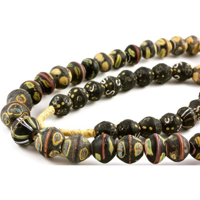 Black and Yellow King beads, African Trade - AT011