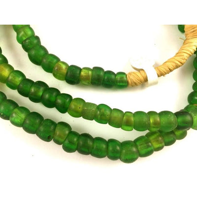 Translucent Green Glass Old Padre Beads, African Trade
