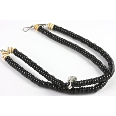 Matched Black Bohemian Glass Disk Beads, With Shell Disk Beads - AT1558