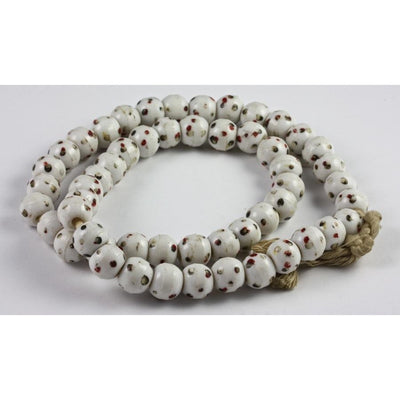 Bohemian White Glass Trade Beads, with Red and Green Eyes, Vintage