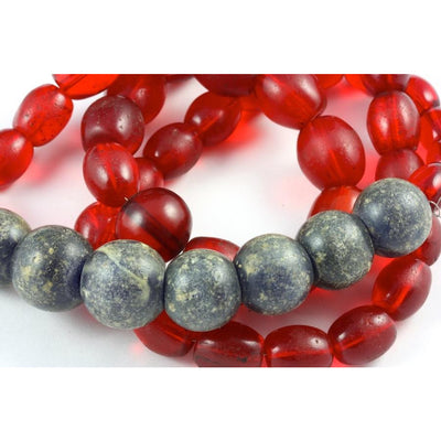 Red Bohemian Oval Translucent Beads, with Faux Bohemian Glass Stone Beads