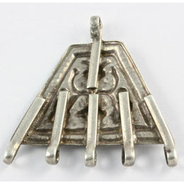 Antique Silver Amulet with 5 Bails, India
