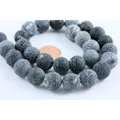 Blue Black Agate Crackle Beads, South Africa