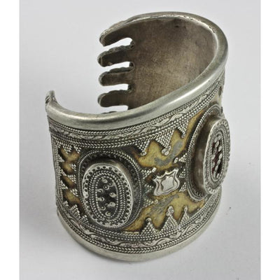 Kazakh Silver and Brass Decorated Bracelet, Antique