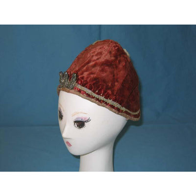 Red Orange Velvet Tiger Hat, Mainland China with 3 Silver Amulets - Rita Okrent Collection (AA025)
