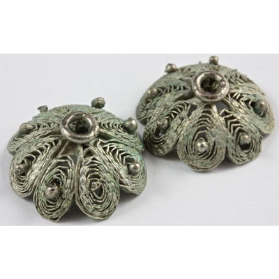 Large Vintage Filigree Silver Metal Bead Caps, Ethiopia