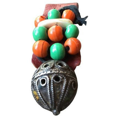 Protective Leather Amulet Decorated with Lovely Antique Berber Silver Focal Bead, Morocco - Rita Okrent Collection (P687)