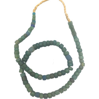 Rare Deep Green Yellow Red Ancient Glass Medium Djenne Nila Beads, Mali - Rita Okrent Collection (AT0157)