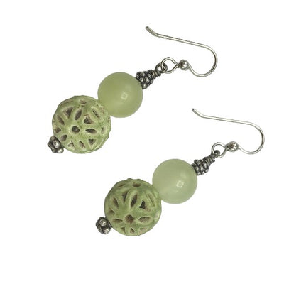 Earrings - Gorgeous Greens with Sterling Silver Ear Wires - Rita Okrent Collection (E406)