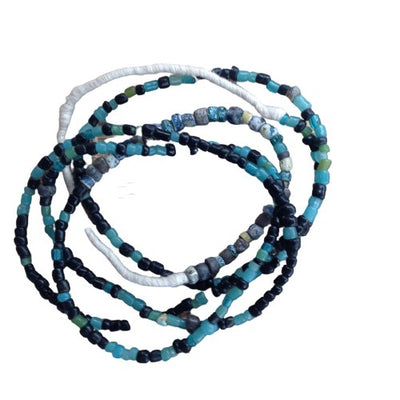 Translucent Blue, Black and Red Small Ancient Glass Nila Beads, Djenne, Mali - Rita Okrent Collection (AT0627b)