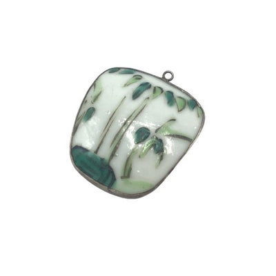 Green and White Vintage Chinese Pottery Shard Pendant - Rita Okrent Collection (P247b)