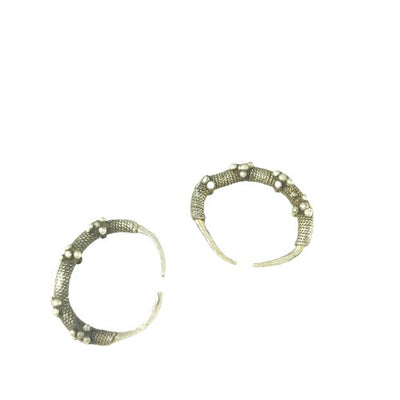 Antique Silver Hoop Earrings with Granulation from Mauritania - Rita Okrent Collection (E400)