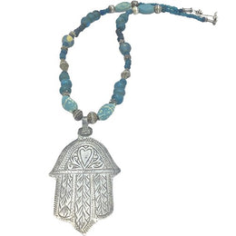 Necklace - Berber Silver Heart Hamsa Amulet with Teal Blue Ancient Glass Beads and Mauritanian Silver Spacers - Rita Okrent Collection (NE379)