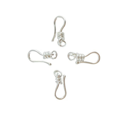 Group of 4, Rita's Sterling Silver 18mm Clasps, Hook Only, Unoxidized - Rita Okrent Collection (CLASPS025)