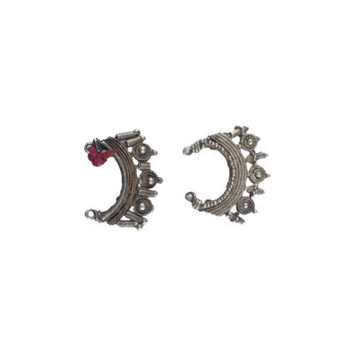 Old Granulated Decorative Silver Earring Elements from Mali - Rita Okrent Collection (E401)