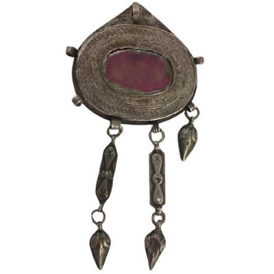 Silver Turkman Kurdish Pendant from Persia, with Glass Inset and Lovely Patina and Etching - Rita Okrent Collection - P186