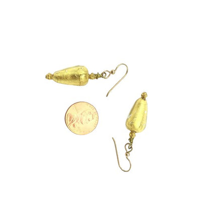Earrings - Venetian Gold Foil Glass Teardrop Beads with Gold Filled Beads from Bali - Rita Okrent Collection (E312)