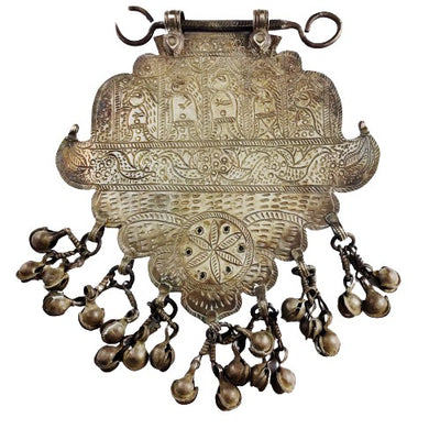 Rare Silver Amulet with Five Etched Figures and Hanging Bells, Northern India - Rita Okrent Collection (C680)