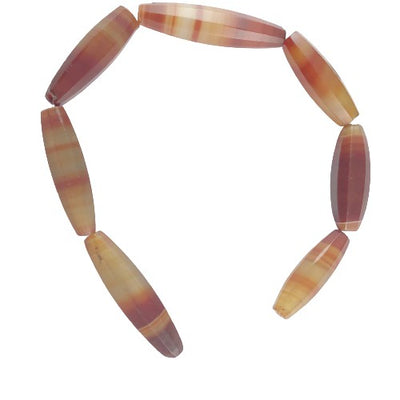 7 Antique Faceted Idar Oberstein Banded Agate Beads from Germany - Rita Okrent Collection (S203a)