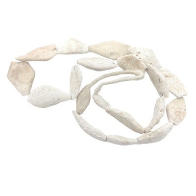 Ancient White and Cream Hues Calcified Shell Beads from the Sahara, Three Styles - Rita Okrent Collection (ANT498)