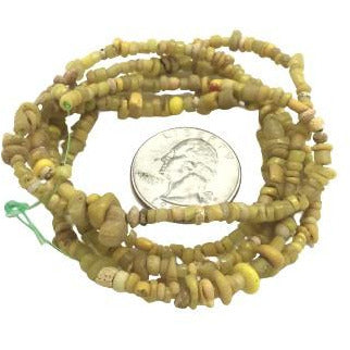 30 inch Strand of Excavated Yellow Glass Nila Beads from Mali - Rita Okrent Collection (AT0690b)