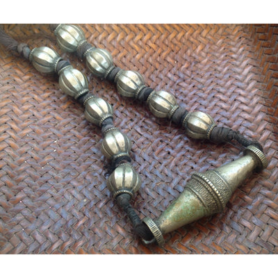 Old Nepalese Tribal Silver Necklace with Bicone Focal Bead - ANT304