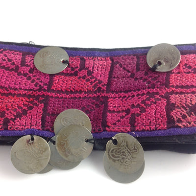 Bedouin Hand Embroidered Belt with Antique Turkish Coins on Black Backing with Velcro Closure - Rita Okrent Collection (AA105)