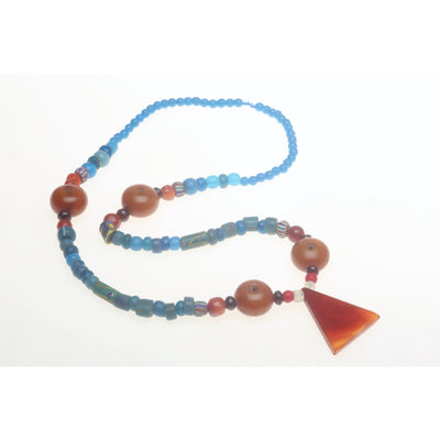 Mauritanian Necklace, Blue Beads with Faux Amber Beads, African Trade - Rita Okrent Collection (AT0912)