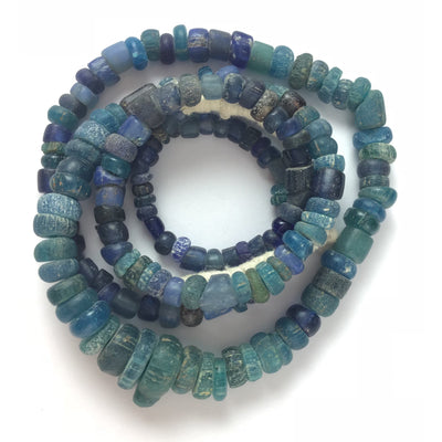 Favorite Excavated Mixed Blue Glass  Medium Nila Beads, Mali - AT0422d