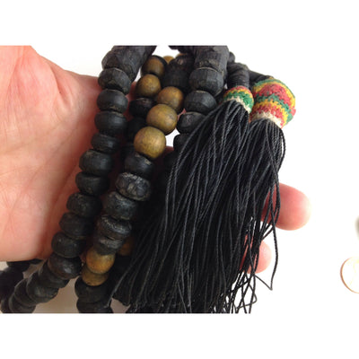 Lovely Old Long Decorative Mauritanian Wood Rosary Prayer Beads Tesbih with 3 Tassels - ANT222