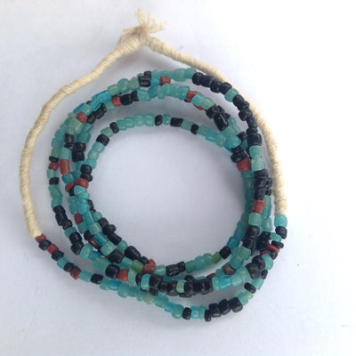 Bright Mixed Teal, Black and Red Small Mixed Nila Beads, Strand - Rita Okrent Collection (AT0652b)