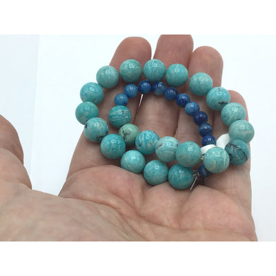 Aqua and Navy Blue Stone Bead Medley Strand - Rita Okrent Collection (S232a)