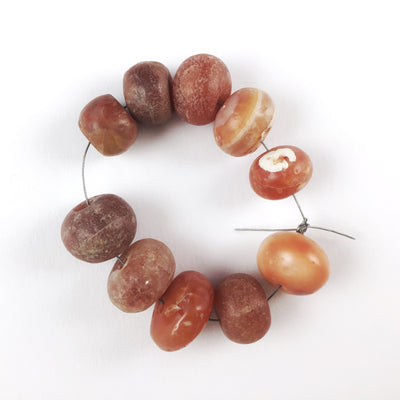 Strand of 10 Antique Round Smooth Orange Carnelian Beads, Mali - Rita Okrent Collection (S061)