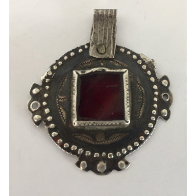 Nice Old Berber Niello Silver and Glass Pendant, Morocco - P538