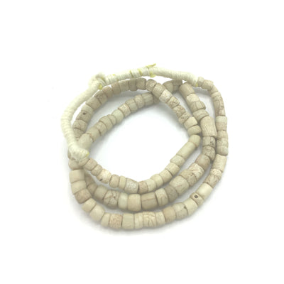 White Greenhearts Venetian Glass Tube Beads from the African Trade - Rita Okrent Collection (AT0875)