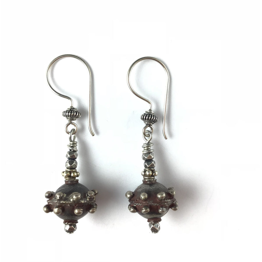 d2ef01abd Antique Granulated Yemeni Silver Bead Earrings with Sterling Silver  Decorative Ear Wires - E351