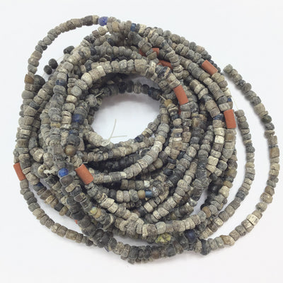 Group of 6 Strands Small Gray Glass Nila Beads from Djenne Mali - Rita Okrent Collection (AT0146q)