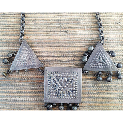 Traditional Egyptian Ceremonial Zar Necklace with 3 Silver Amulets with Dangles, Egypt - Rita Okrent Collection (C500)
