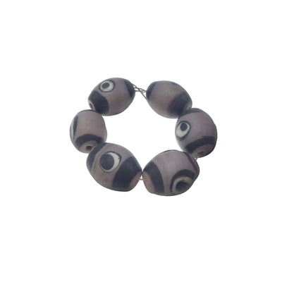 Strand of 6 Contemporary Ceramic Painted Eye Beads - Rita Okrent Collection (C326a)