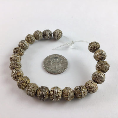 Group of 20 Favorite Antique Handmade Small Gilded Silver Granulated Mauritanian Beads - Rita Okrent Collection (C465sg-2)