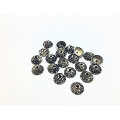 Berber Silver Bead Caps, With or Without Eyes, Set of 2, Morocco - Rita Okrent Collection (NP025)