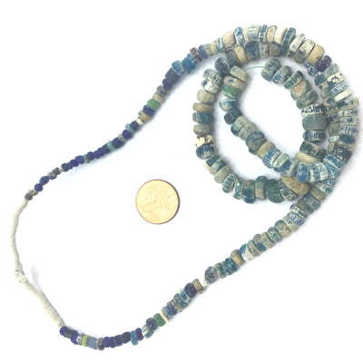Mixed Graduated Teal Blue Faded Excavated Ancient Glass Medium Sized Nila Beads, Mali - AT0629