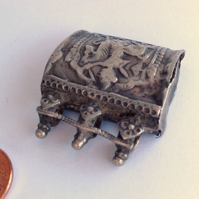 Antique Hindu Silver Repousse Box Amulet from India with 3 Top Bails -  Rita Okrent Collection (P562)