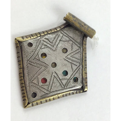 Berber Kite or Diamond Shaped Kitab Amulets in Brass and Silver, Morocco - Rita Okrent Collection (P634)