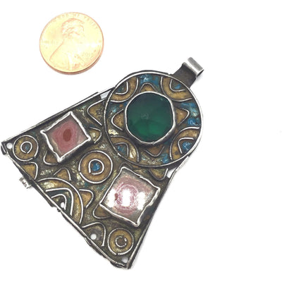 Enameled Berber Silver Pendant with Glass Insets, Morocco - Rita Okrent Collection (P569)