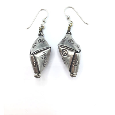 Thai Keren Hill Tribe Stamped Silver Kite-Shaped Beaded Hanging Earrings - Rita Okrent Collection (E357)